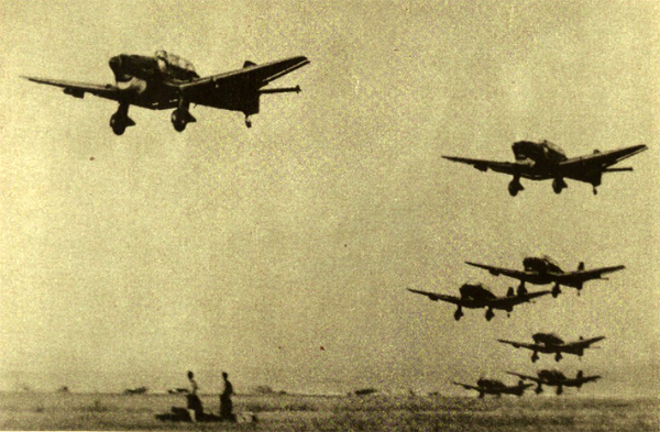 Squadrons of the German Air Force rush at the Soviet enemy