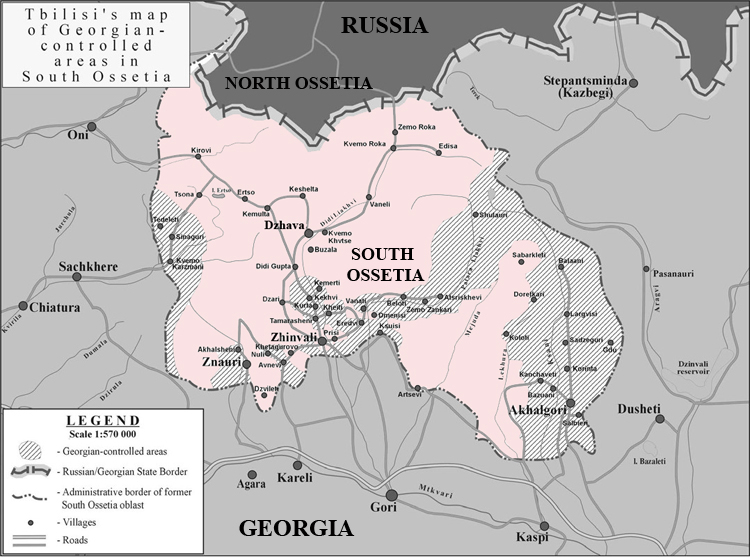 Map of the South Ossetia and Georgian-controlled areas