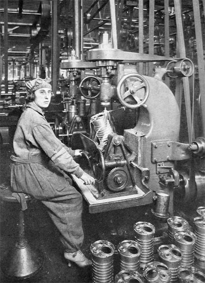 Woman Operator Machining Cylinders of Liberty Motors (at the Cadillac Plant, Detroit).