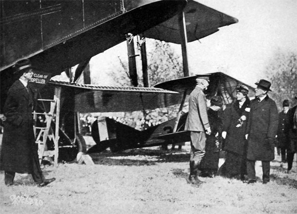 General Peyton C. March, Chief-of-Staff, President and Mrs. Wilson, Inspecting Handley-Page Bomber at Washington.