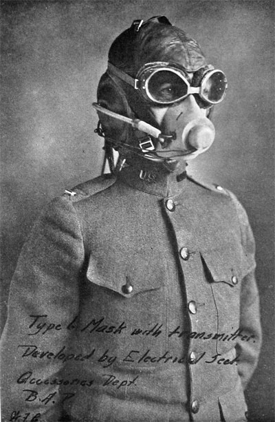 Aviator's Oxygen Mask in Position, Ready for Use
