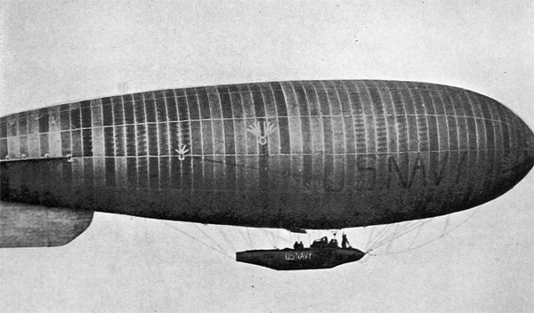 "A Navy ""Blimp""--Non-Rigid Dirigible--in the Air"