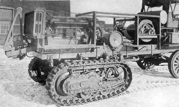 6-Cylinder, 100-H. P. Rear Windlass Engine Caterpillar, Tractor Adapter, for Towing and Controlling Observation Balloons