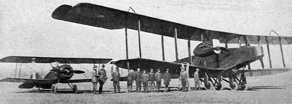 American-Made Handley-Page Bomber with Single-Seater at Left