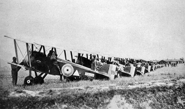 148th American Aero Squadron at the Front, at Petite-Sythe, France, Equipped with Sopwith-Camel Planes U. S. Air Service Photo