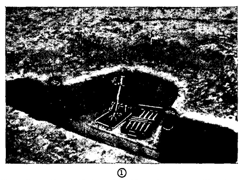 Figure 41.—Enlarged foxhole for light mortar, with revetted slope.