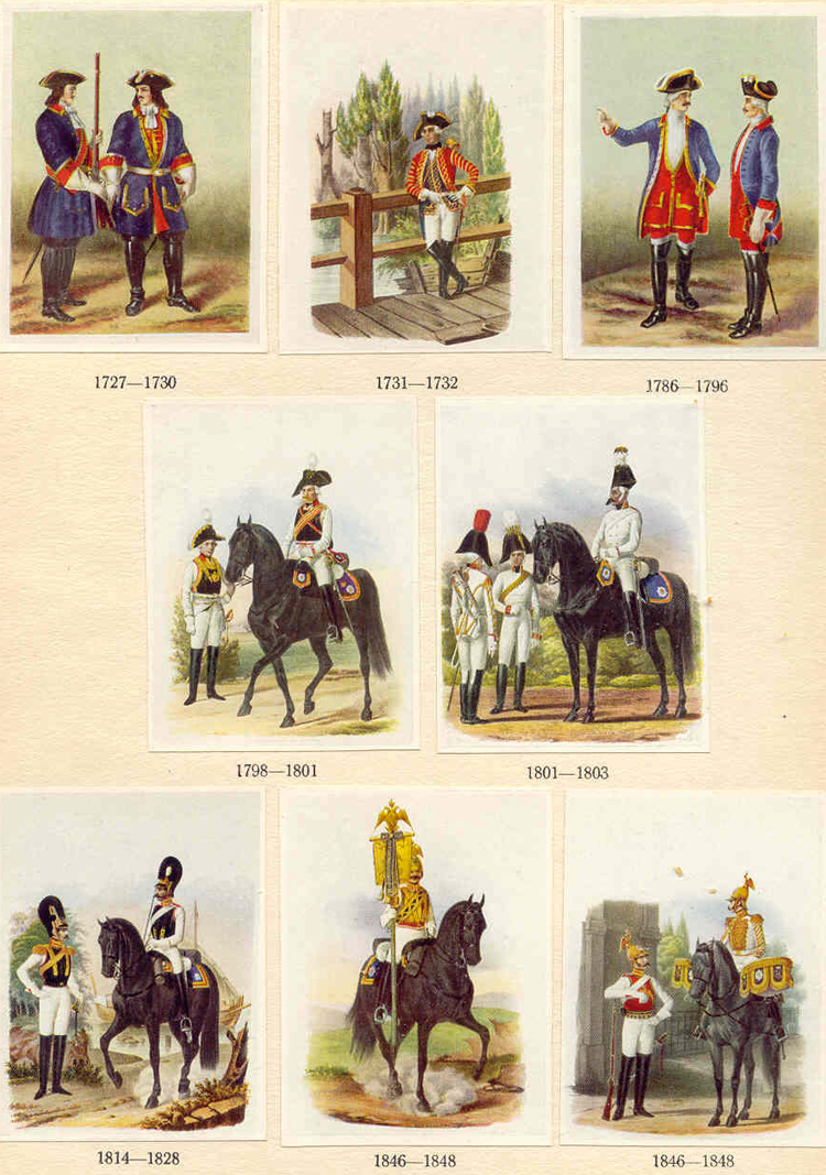 "Some of the uniforms worn by officers of the "" Leib Regiment "" and the Horse Guards, from works by Wiskowaty and Annenkoff"