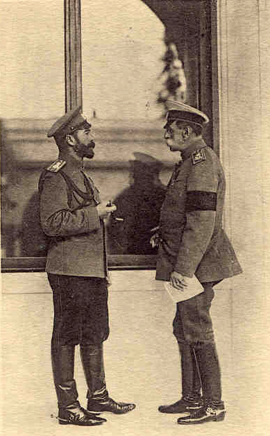 H. M. Emperor Nicholas II in conversation with Count W. de Freedericksz, Captain-in-Chief of the 4th. squadron ai the Horse Gnards, at Livadia, Crimea