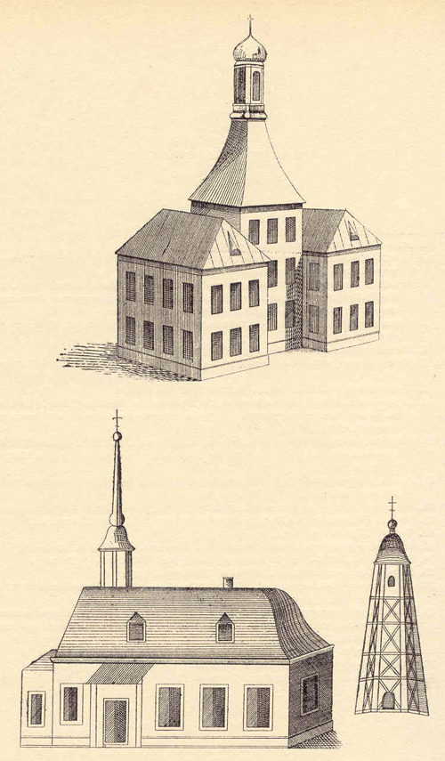 A sketch of regimental head-quarters and the first stone church of the Horse Guards