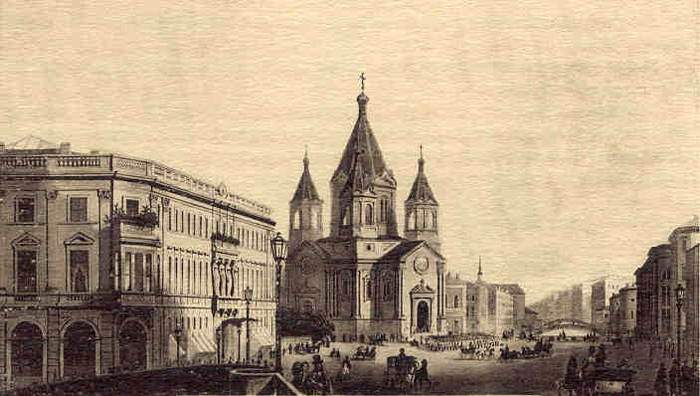 A view of the Cathedral of lhe Annunciation, the Horse Guards regimental Church, from a coloured lithograph by Daziaro