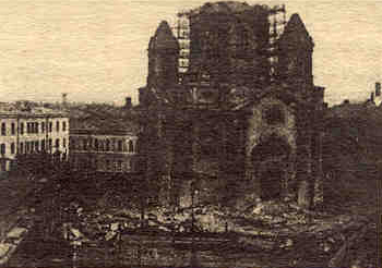 A view of the cathedral of the Annunciation being pulled down by the bolsheviks, from a photograph published on August 31st., 1929