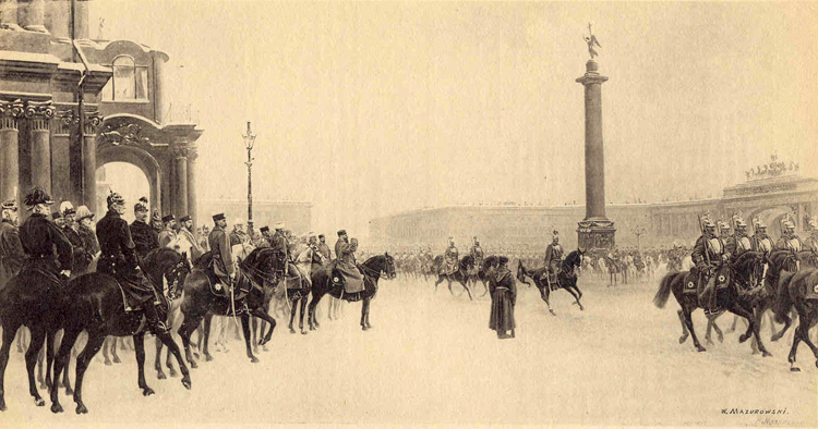 H. M. Emperor Alexander III reviewing the Horse Guards in Winter Palace Place, in St. Petersburg