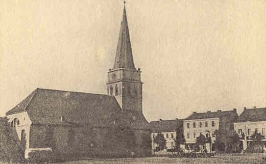 Market place and church at Gumbinnen, a town in East Prussia, through which the Horse Guards passed during the war