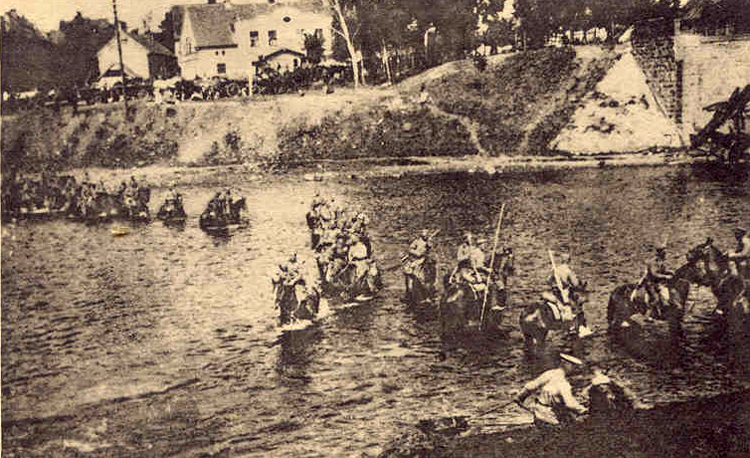 The Horse Guards fording a river near Friedland (1914)