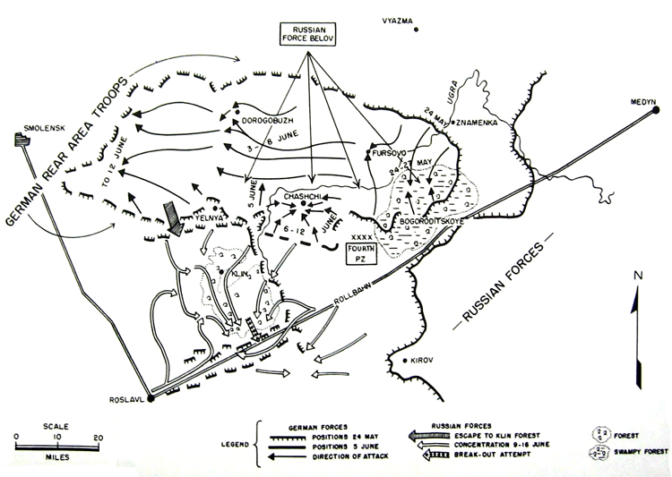 MAP 4.	Destruction of Russian Force Belov to the Rear of Fourth Panzer Army 24 May-22 June 1942