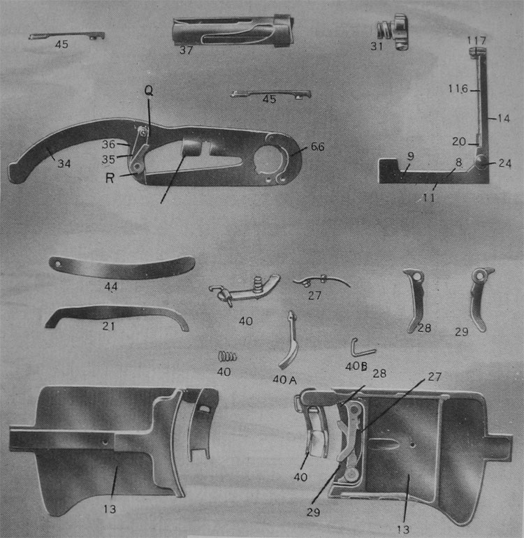PLATE 4.— Gun Parts: Feed Mechanism, Bolt, Extractors and Ejector